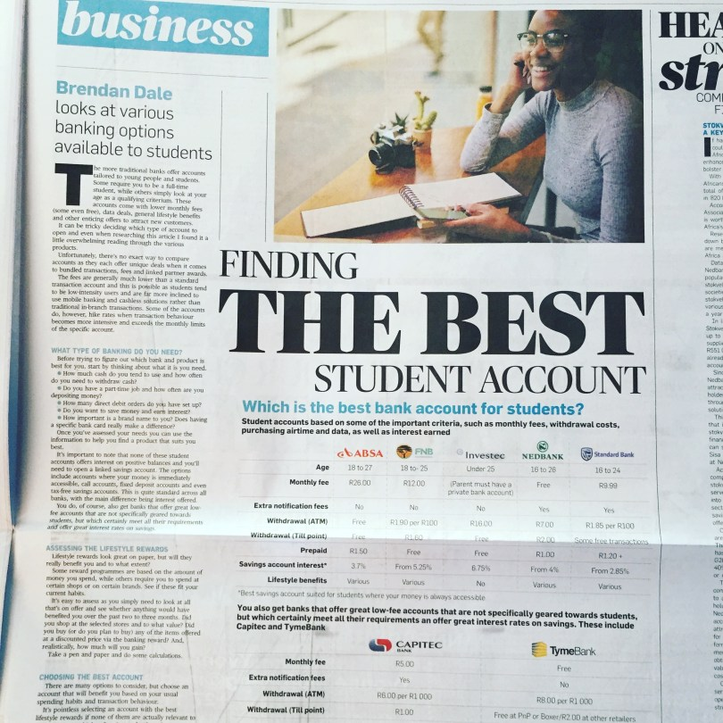 City Press 16 June 2019 : Finding the best Student Account
