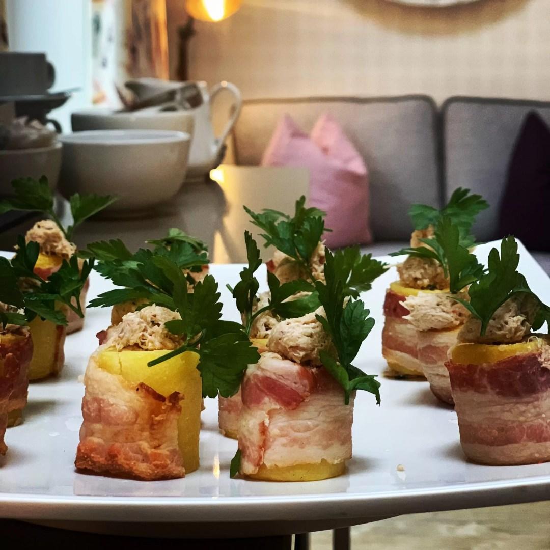 potato fondant with pancetta and crab