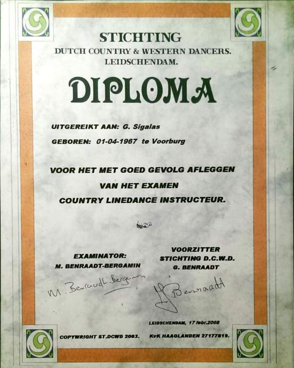 Diploma SDCWD Linedance Instructeur