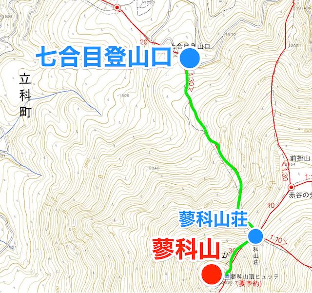 蓼科山 7合目登山口 登山地図