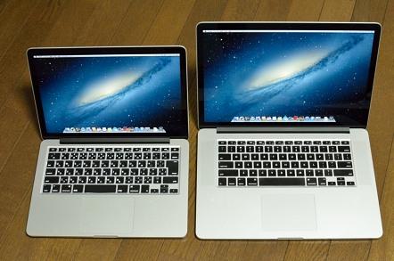 13インチMacBook Pro Retinaディスプレイモデル 15インチMacBook Pro Retinaディスプレイモデル 比較