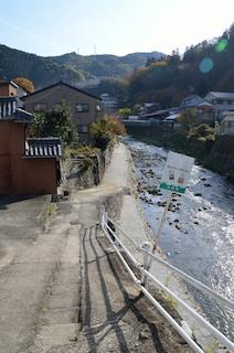 足助川 川沿いの道