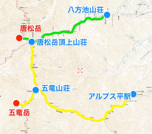 唐松岳 五竜岳 縦走地図