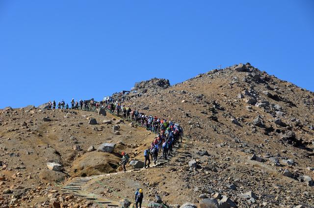 御嶽山 黒沢口登山道 規制一時解除区域