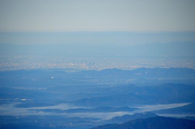 空木岳 山頂からの眺め 名古屋駅方面
