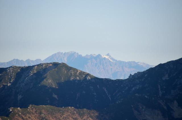 空木岳 山頂からの眺め 西穂高岳~奥穂高岳~槍ヶ岳