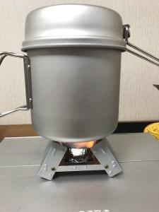 固形燃料で炊飯。ほったらかし炊飯で美味しくお米が炊けるかな。