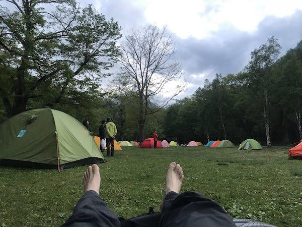 徳沢キャンプ場 昼寝