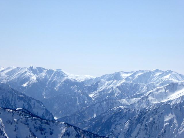 唐松岳 山頂からの眺め 雲ノ平、薬師岳