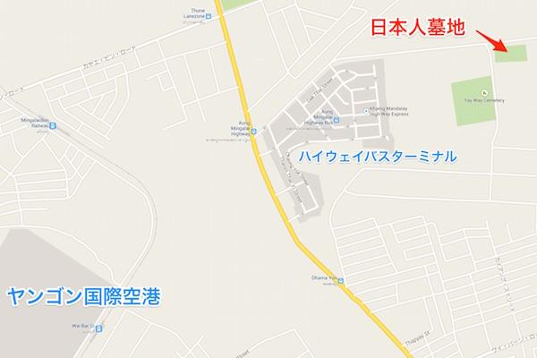 ミャンマー ヤンゴン 日本人墓地 地図
