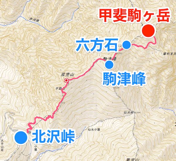甲斐駒ヶ岳 登山地図