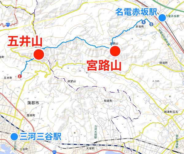 宮路山〜五井山 縦走登山 地図