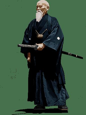 Pixel Art Portrait of the founder of Aikido, Morihei Ueshiba (1883 - 1969)