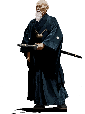 Pixel Art Portrait of the founder of Aikido, Morihei Ueshiba (1883 - 1969)