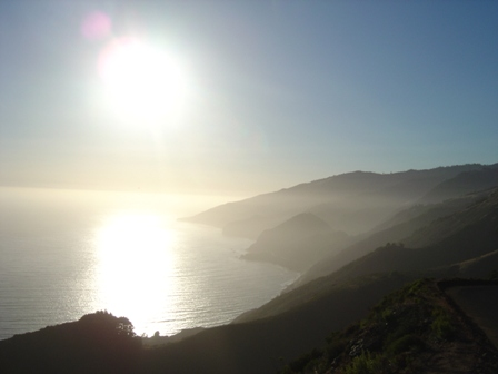 hazy pacific coast near sunset, from nacimiento road