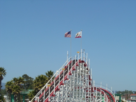 top of the giant dipper at the santa cruz boardwalk