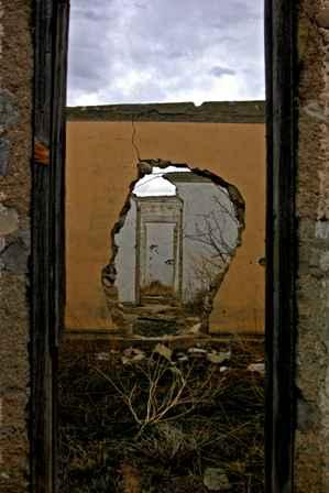 Wall ruins at old motel