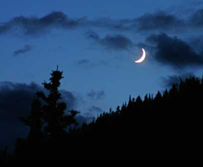 Crescent Moon over mountains, Colorado