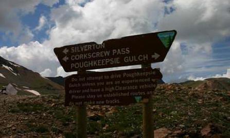 Silverton, Corkscrew Pass, Poughkeepsie Gulch Sign