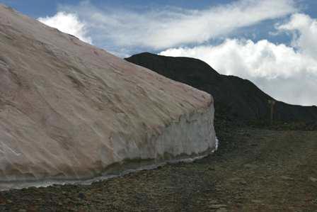 snow bank in august, san juan mountains