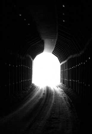 inside the tunnel, gold camp road
