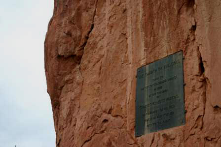 plaque, rock outcroppings at Garden of the Gods, Colorado Springs
