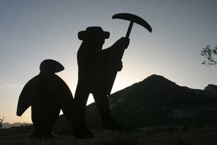 Miner and Penguin, Sculptures at Rhyolite Ghost Town