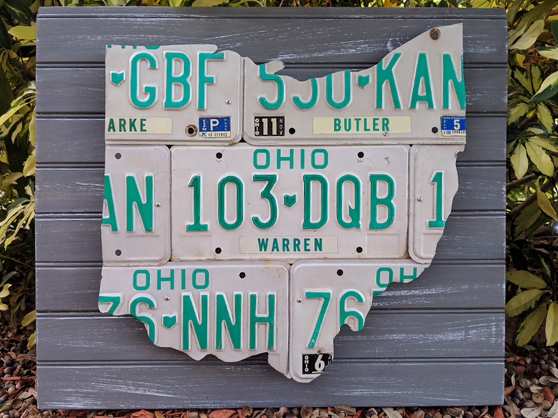 Ohio License Plate Sculpture