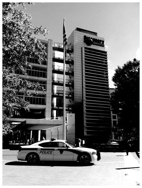 Montgomery County Police car outside of the Discovery Building in Silver Spring, Maryland.