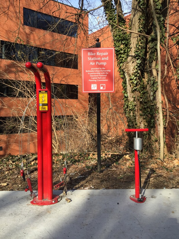bike repair station on the Capital Crescent Trail in Bethesda, Maryland