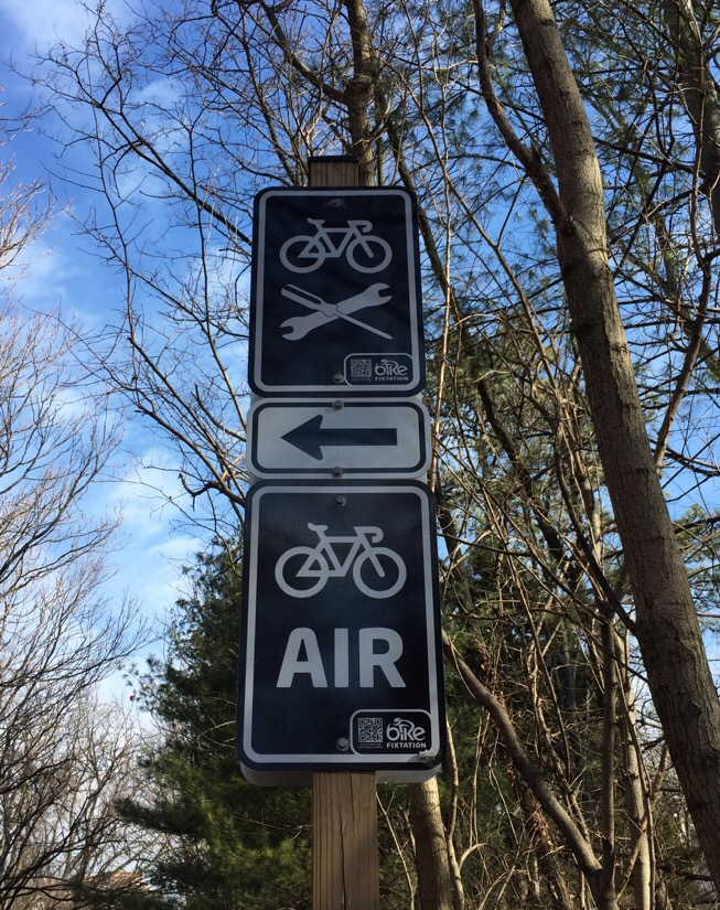 sign for the bike repair station on the Capital Crescent Trail in Bethesda, Maryland