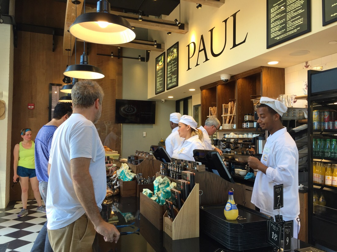 line for coffee and breakfast at Paul Boulangerie in Bethesda, Maryland