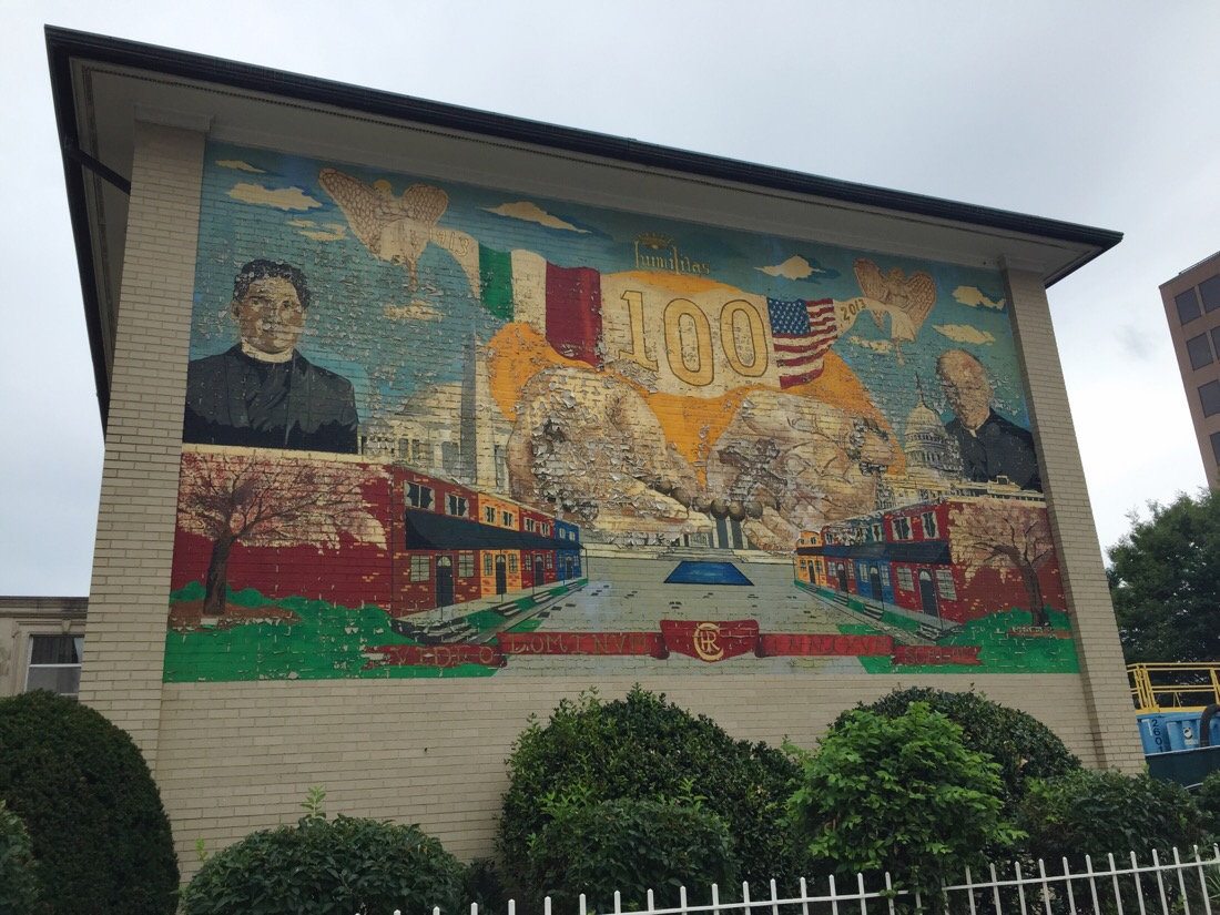 wall mural on the side of a church in washington dc
