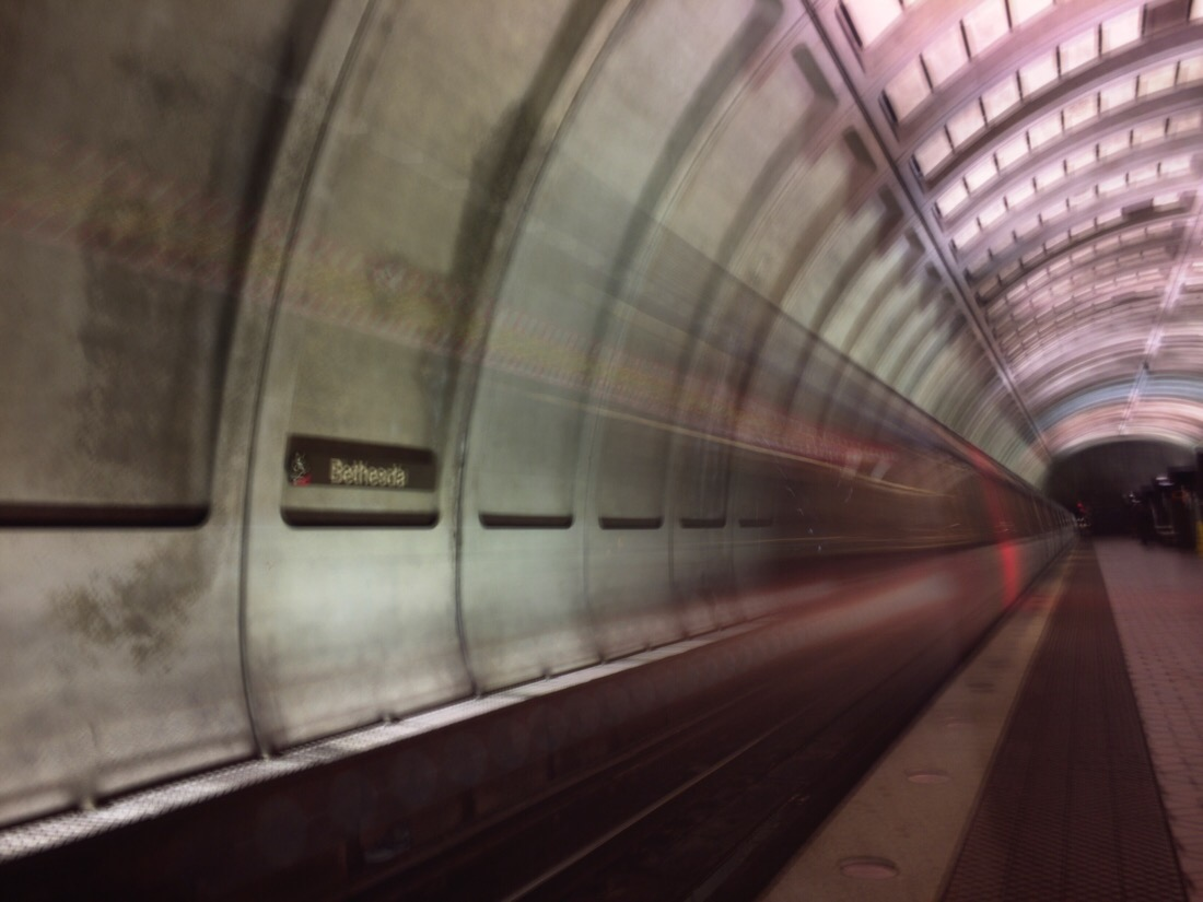 redline train arriving at bethesda metro station heading towards glenmont