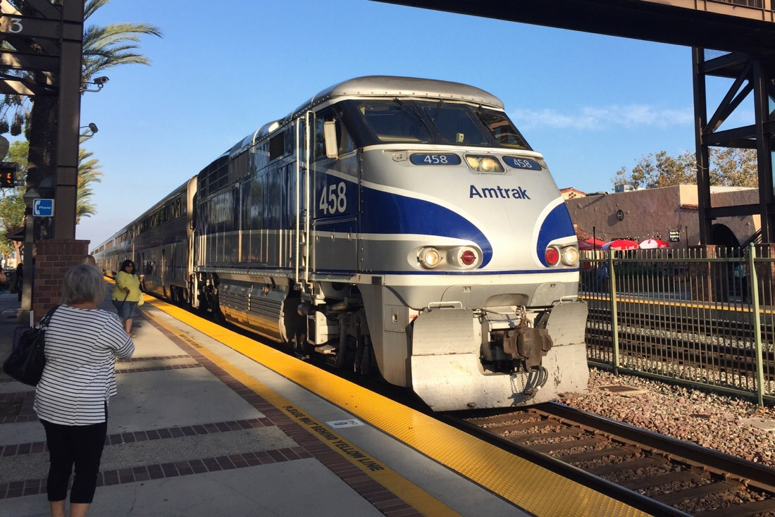 amtrak pacific surfliner at fullerton station in california