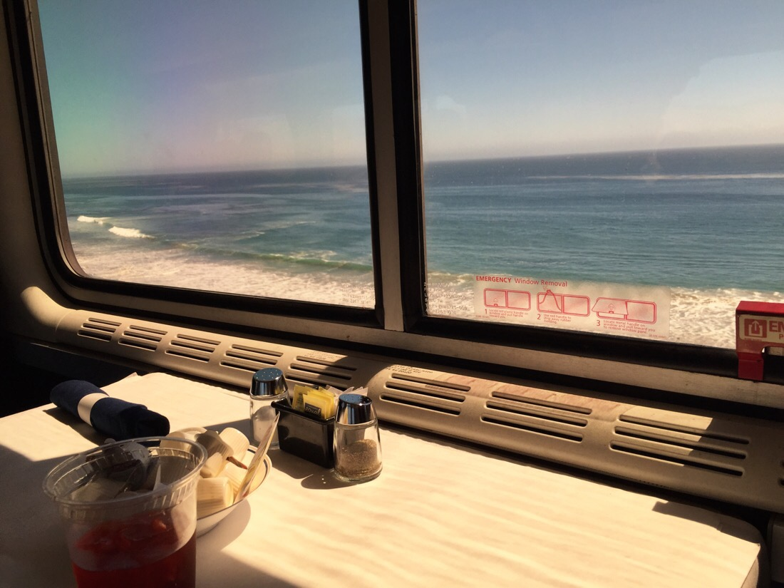 view from the dinning car of the amtrak coast starlight