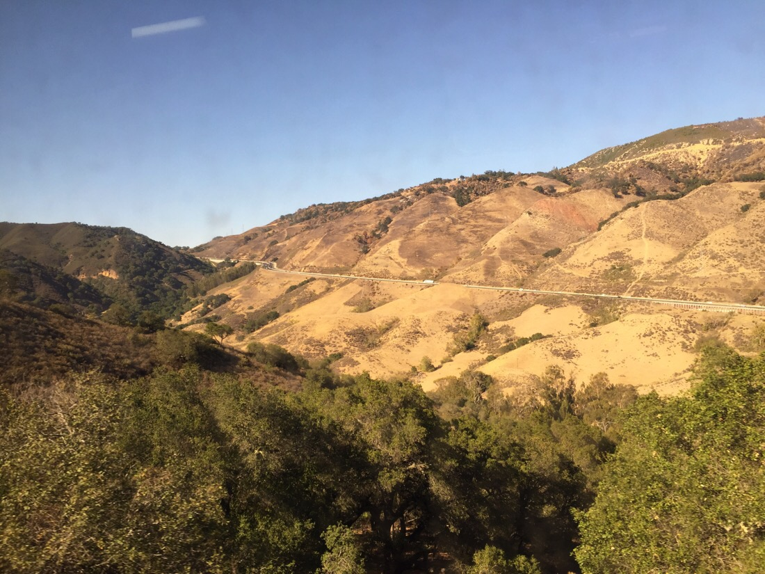 the hills above san luis obispo on the amtrak coast starlight
