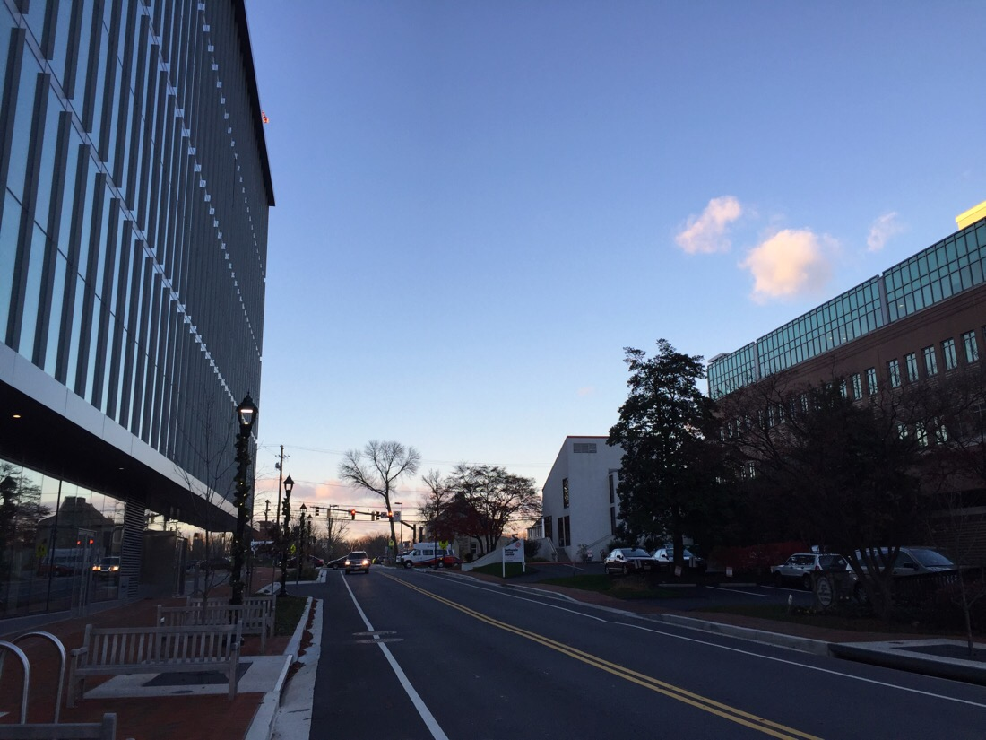 the sun starts to set in bethesda, maryland