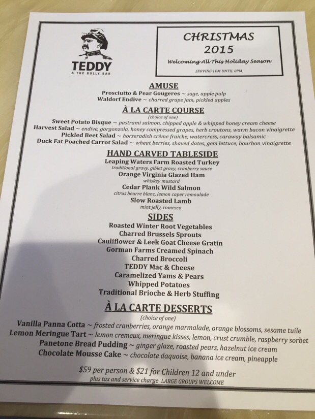 christmas dinner at teddy and the bully bar in washington dc