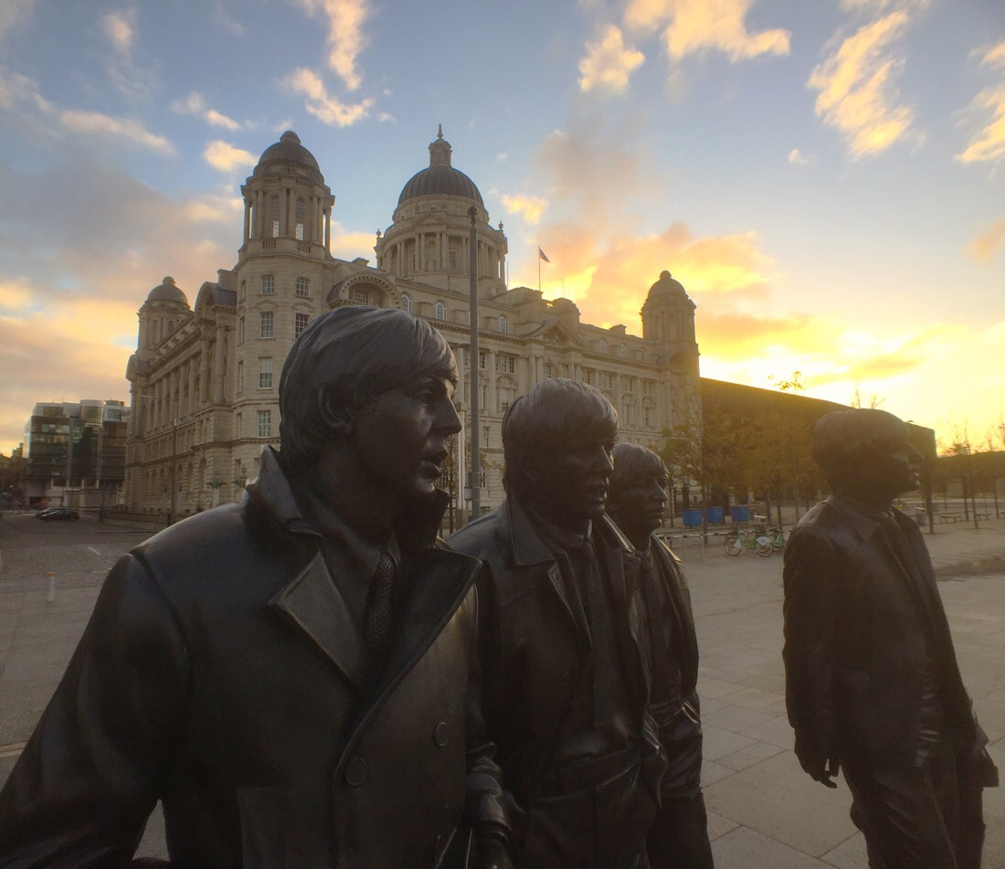 Beatles statue at the pier head in Liverpool