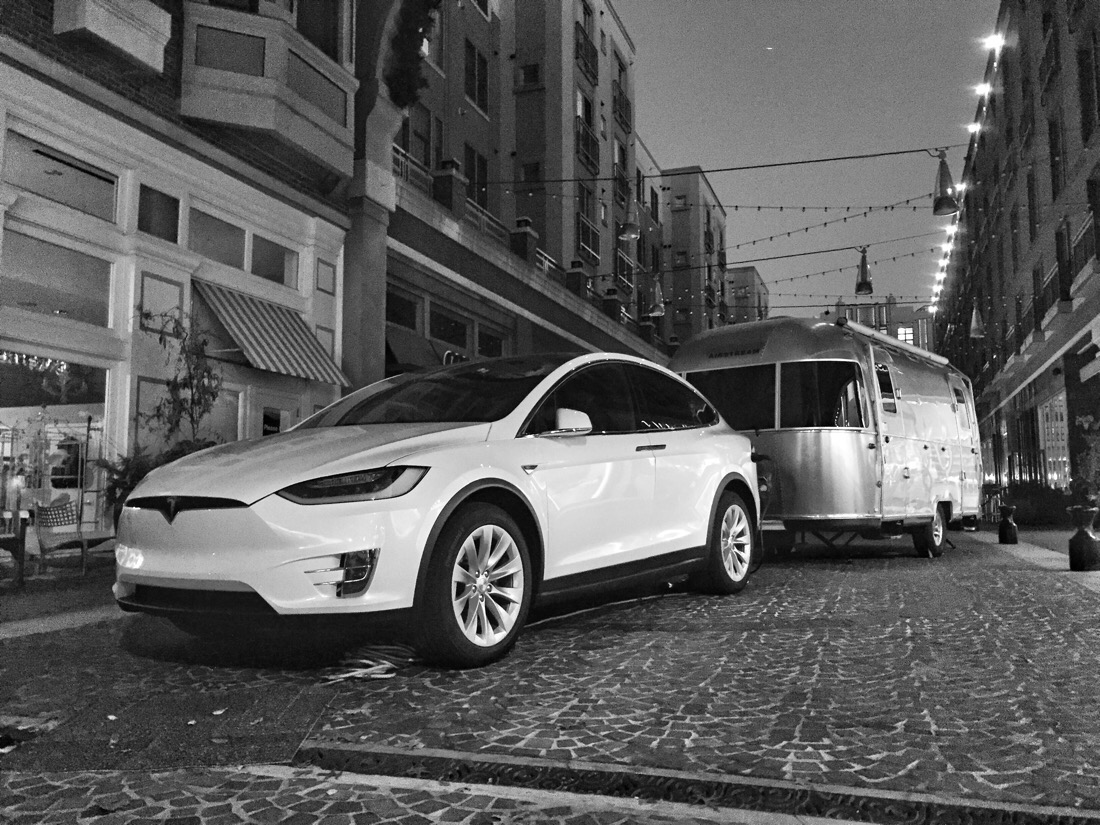 Tesla model x and airstream camper in Bethesda, md