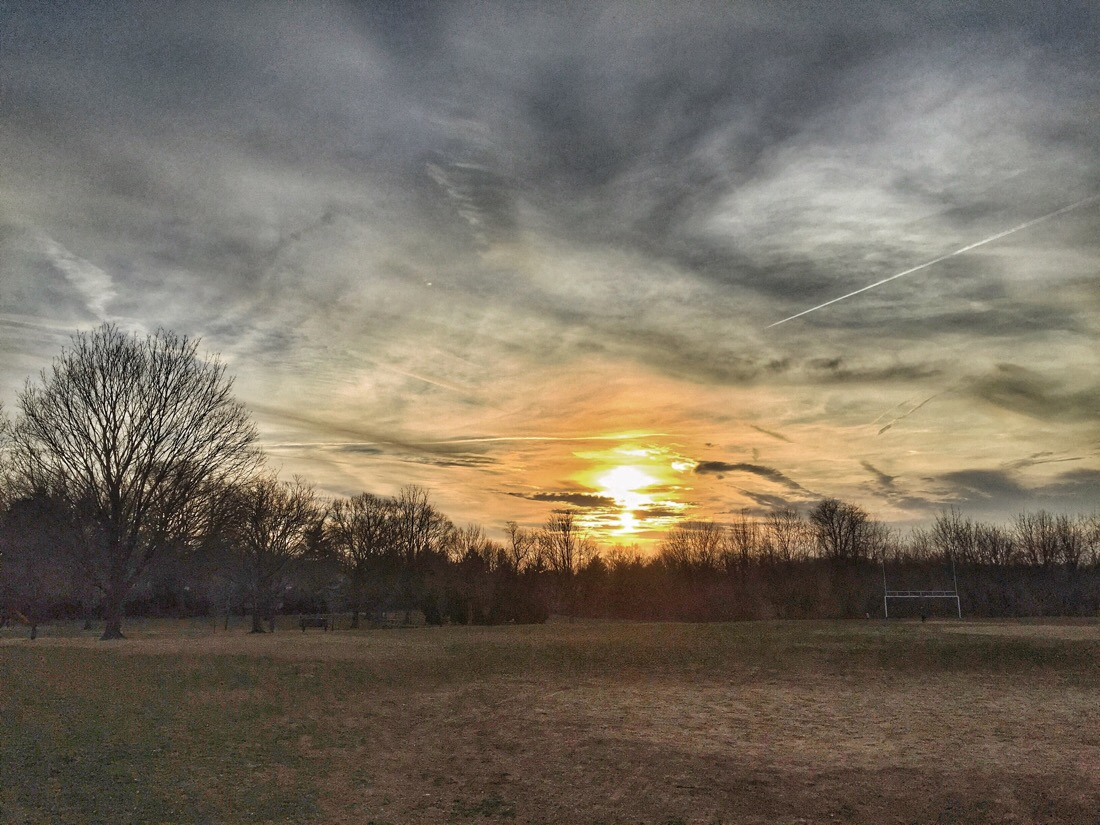 Sunset over Norwood Park in Chevy Chase, md