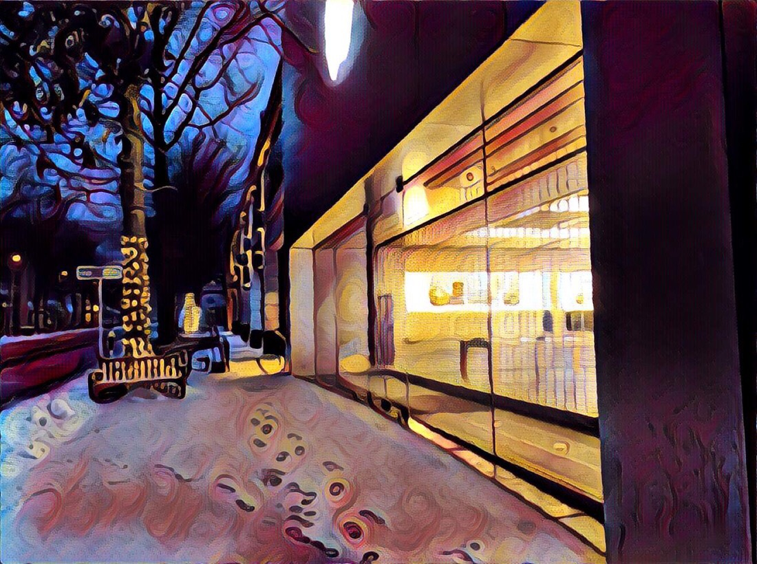 The Apple Store in Bethesda, md edited with the prisma app for iOS