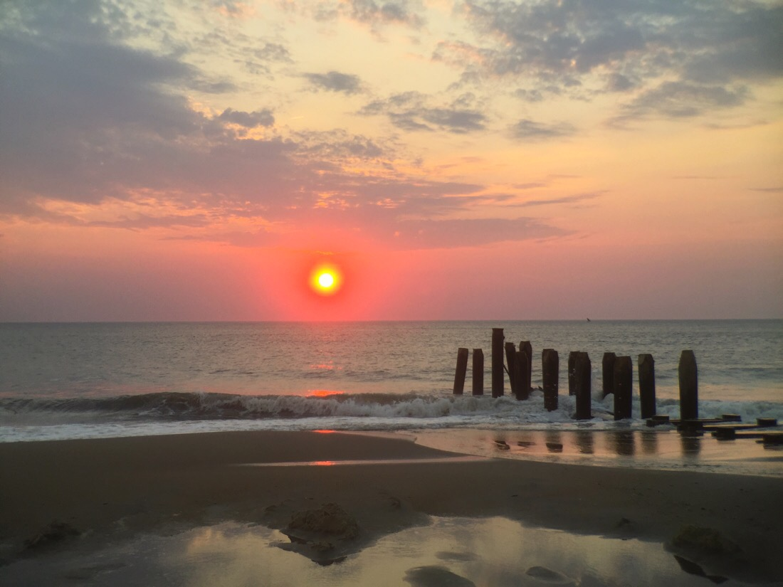 Sunrise at rehoboth beach in Delaware