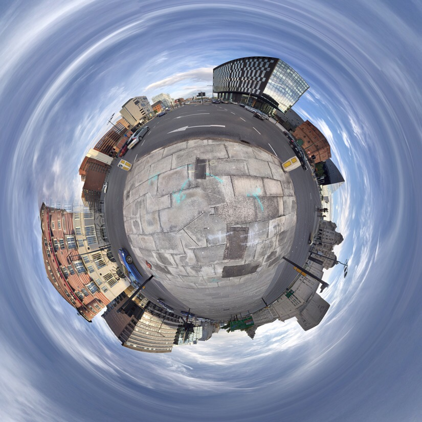 Panoramic of st James street in Liverpool edited with tiny planet pro.