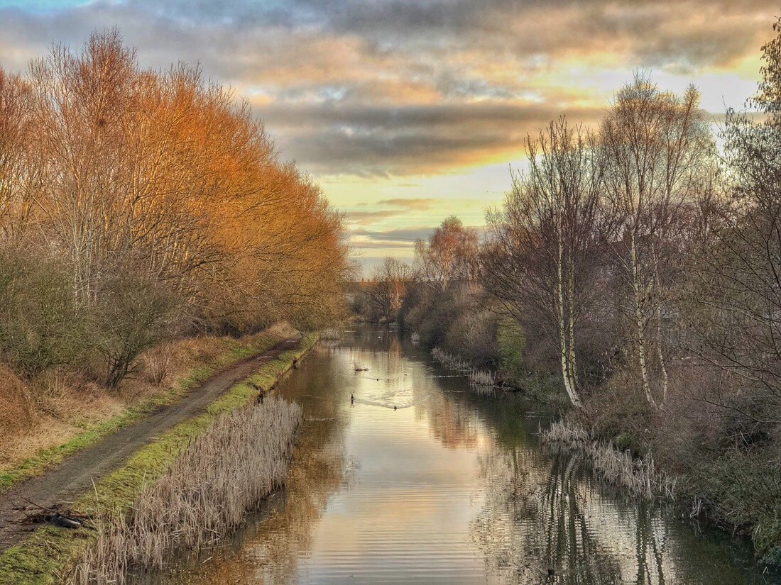 Morning walk besides the Leeds Liverpool canal in netherton, merseyside