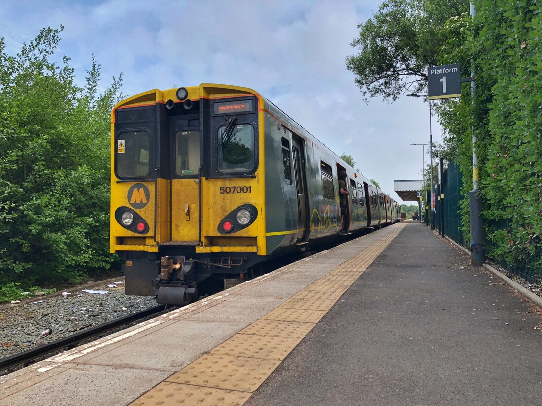 Merseyrail train at ormskirk station