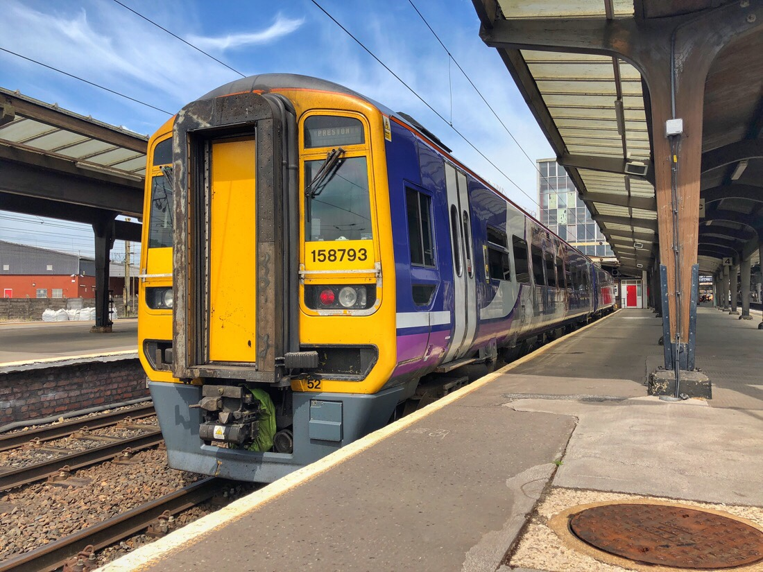 Northern rail train at Preston Station.
