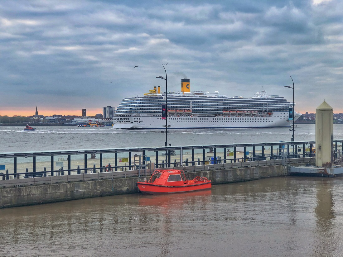 The Costa Mediterranea at the cruise terminal in Liverpool, U.K.
