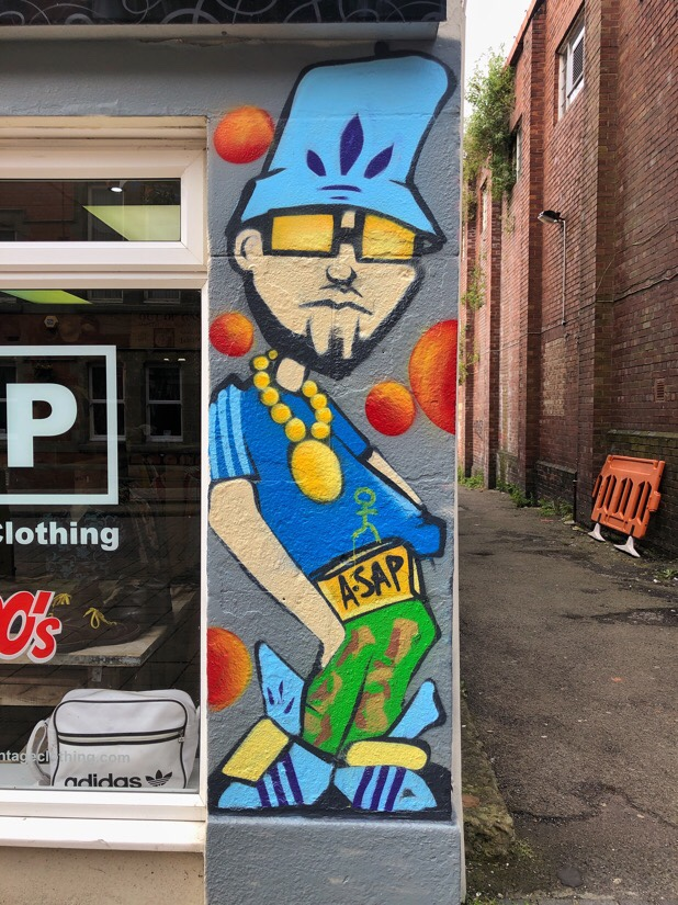 Street art advertising for ASAP Vintage Clothing store in Ormskirk, Lancashire
